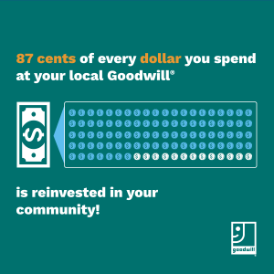 87 cents of every dollar you spend at your local Goodwill is reinvested in your community!